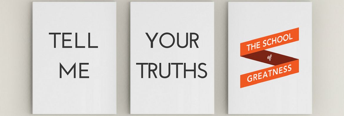 3 Frames on  a wall with the words 'Tell Me Your Truths'
